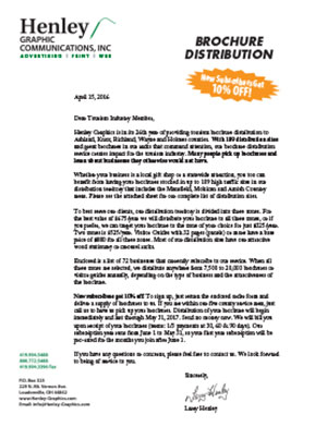 Brochure Distribution Letter