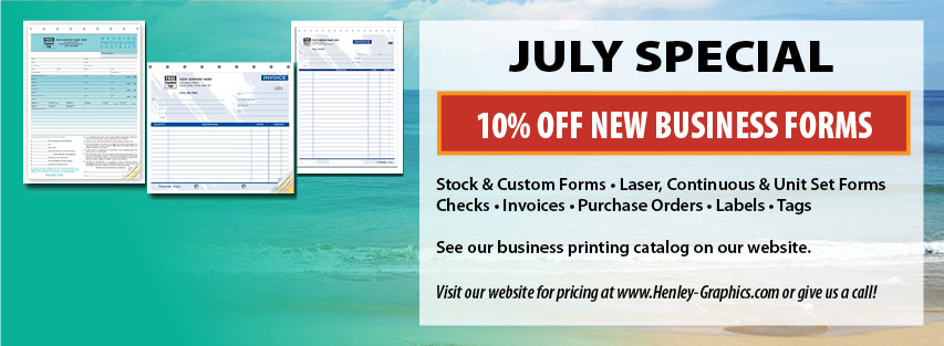 July special - Business Forms 10% Off