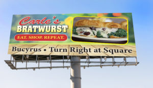 Carle's Bratwurst Billboard Design